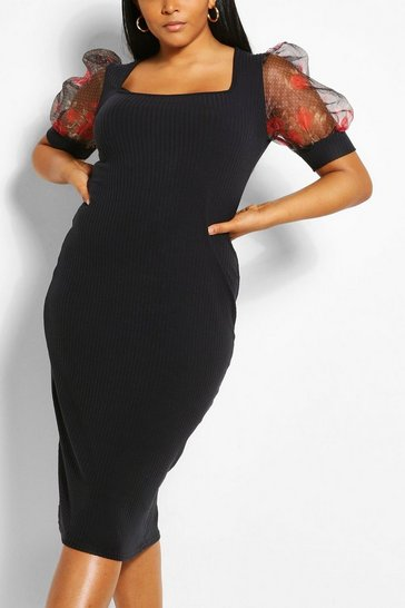 Black Plus Floral Organza Puff Sleeve Midi Dress