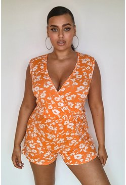 Orange Plus Ditsy Floral Wrap Over Jersey Playsuit