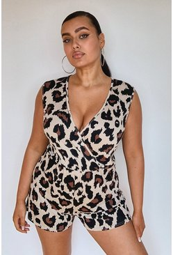 Stone Plus Leopard Wrap Over Jersey Playsuit