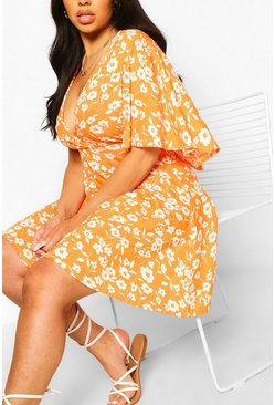 Orange Plus Ditsy Floral Angel Sleeve Skater Dress