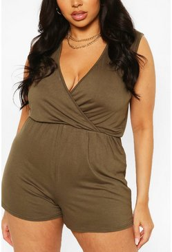 Khaki Plus Basic Wrap Over Jersey Playsuit
