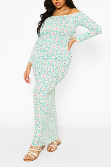 Green Plus Floral Off The Shoulder Maxi Dress