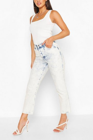 Mid blue Petite Girlfriend Ankle Grazer Jean