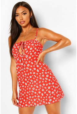 Petite Foral Mini Dress, Red