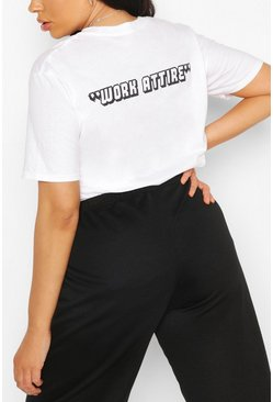 White Plus Work Attire Slogan T-Shirt