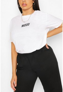 White Plus Mood Slogan T-Shirt