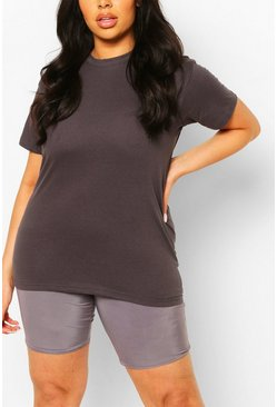 Dark grey Plus Basic Crew Neck T-Shirt