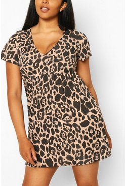 Stone Plus Animal Print Cap Sleeve Sundress