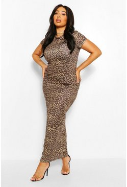 Stone Plus Leopard Cap Sleeve Maxi Dress