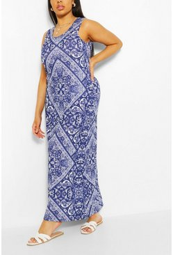 Navy Plus Tile Print Scoop Neck Maxi Dress