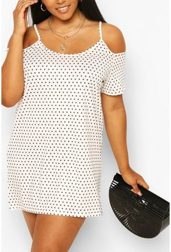Ivory Plus Polka Dot Cold Shoulder Sundress