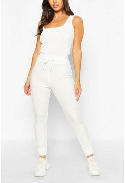White Petite High Waist Drawcord Leggings
