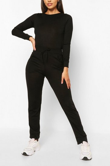 Black Petite Light Knit Jogger & Crop Lounge Set