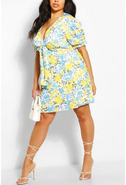 Yellow Plus Puff Sleeve Knot Dress