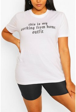 White Plus Working From Home Slogan T-Shirt