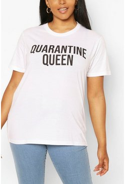 White Plus Quarantine Queen Slogan T-Shirt
