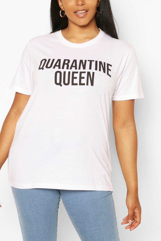 Plus Quarantine Queen Slogan T-Shirt 6
