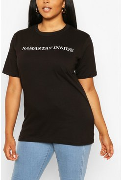 Black Plus Namastay-Inside Slogan T-Shirt