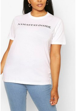 White Plus Namastay-Inside Slogan T-Shirt