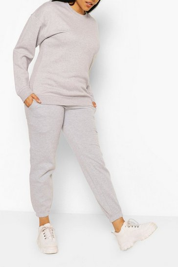 Grey Plus Basic Sweat & Jogger Lounge Set