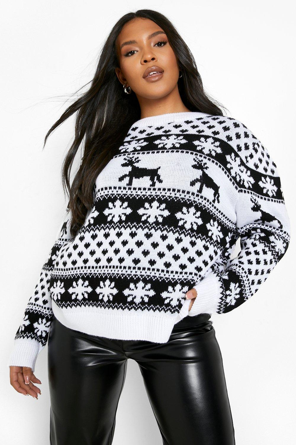 Vintage Sweaters, Retro Sweaters & Cardigan Womens Plus Reindeer And Snowflake Christmas Sweater - White - 16 $15.20 AT vintagedancer.com