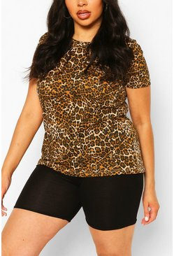 Brown Plus Leopard Print T-Shirt