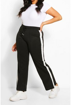 Plus Stripe Side Wide Leg Joggers, White