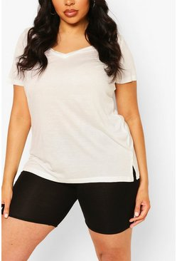 Cream Plus Basic V Neck T-Shirt