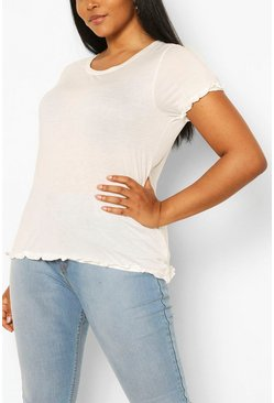 Cream Plus Frill Hem T-Shirt