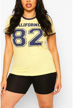 Yellow Plus Cali 82 Slogan Ringer T-Shirt