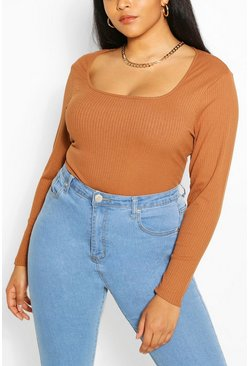 Camel Plus Rib Square Neck Longsleeve T-Shirt