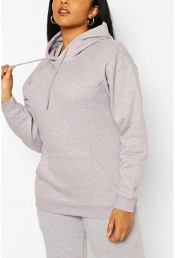 Grey Plus Basic Hoody & Jogger Lounge Set
