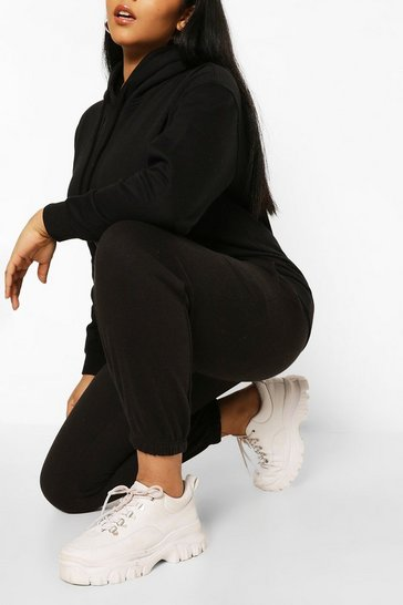 Black Plus Basic Hoody and Jogger Lounge Set