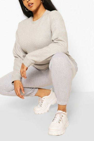 Grey Plus Oversized Basic Jogger