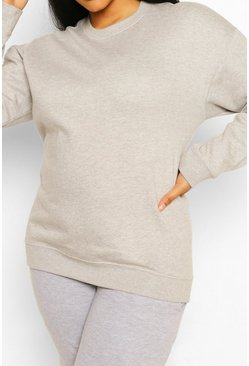 Plus Oversized Basic Sweat , Grey