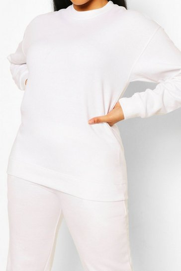 White Plus Oversized Basic Sweat