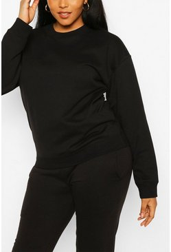 Plus Oversized Basic Sweat, Black