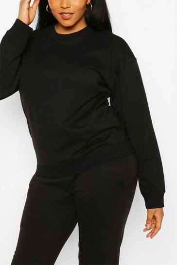 Black Plus Oversized Basic Sweat