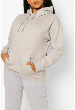 Grey Plus Oversized Basic Hoodie