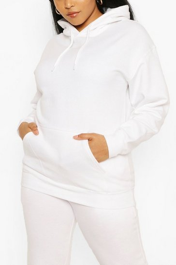 White Plus Oversized Basic Hoodie