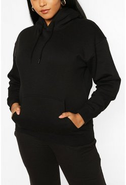 Plus Oversized Basic Hoodie , Black