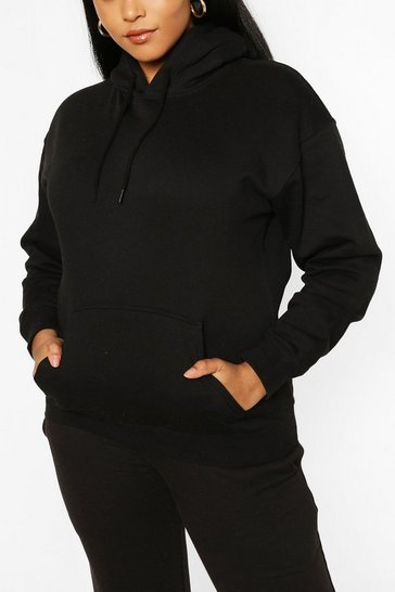 Black Plus Oversized Basic Hoodie