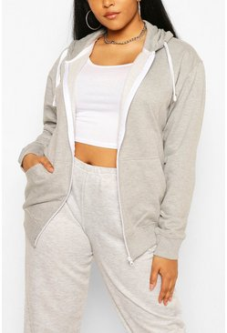 Plus Oversized Basic Zip Through Hoodie, Grey