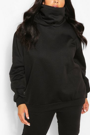 Black Plus Hoodie With Snood