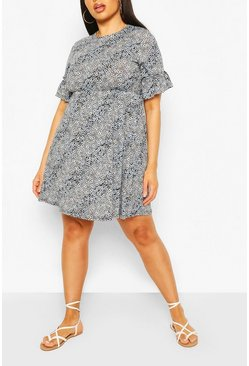 Blue Plus Mixed Floral Ruffle Sleeve Smock Dress