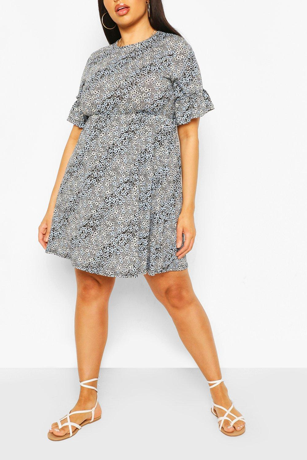 Plus Mixed Floral Ruffle Sleeve Smock Dress 8