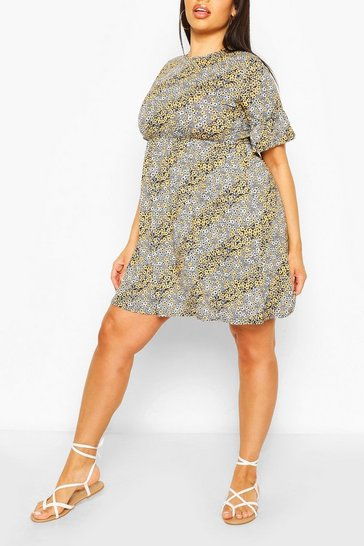 Mustard Plus Mixed Floral Ruffle Sleeve Smock Dress