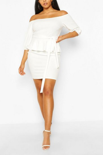 Ivory Plus Peplum Off The Shoulder Midi Dress