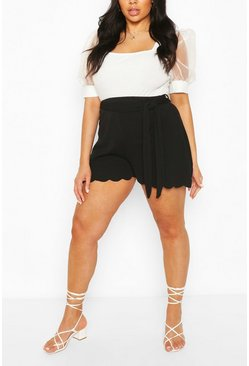 Black Plus Scallop Edge Tailored Short