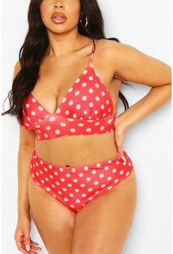 Red Plus Polka Dot Print Triangle High Leg Bikini
